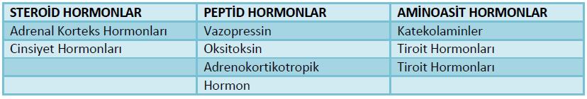 hormonların kimyasal yapılarına göre çeşitleri