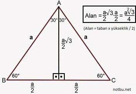 eşkenar üçgenin alanı nasıl bulunur