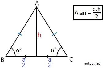 İkizkenar üçgenin alanı nasıl bulunur