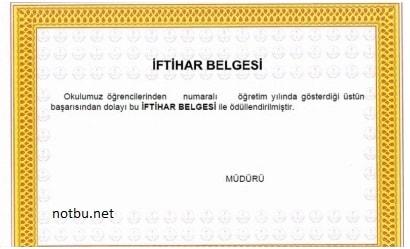 İftihar belgesi kimlere verilir